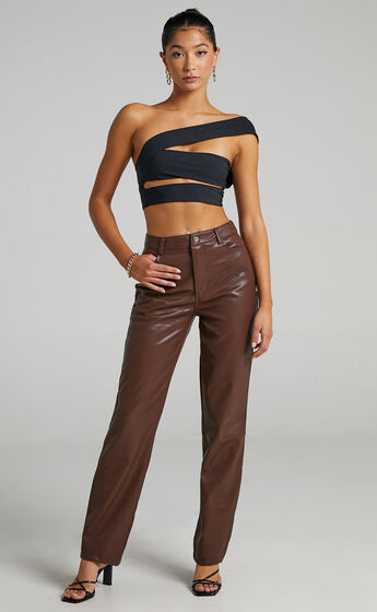 Dilyenne Pants in Chocolate Leatherette