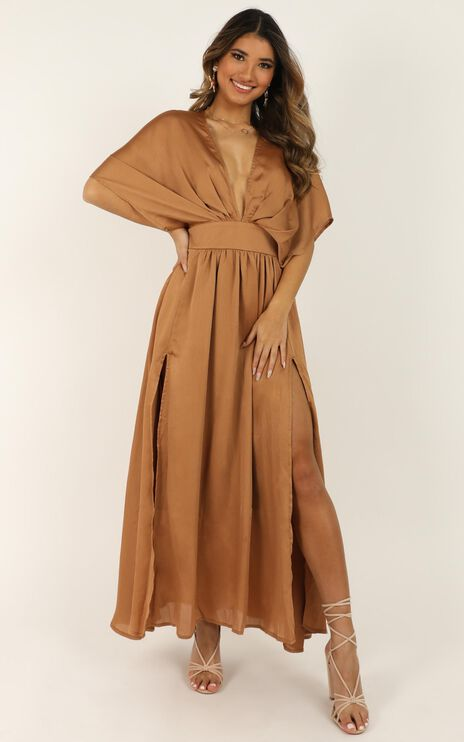 Save It For Later Dress In Camel Satin