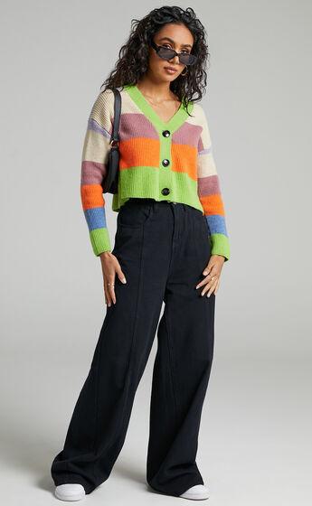 Deidre Button Up Knit Cardigan in Multi