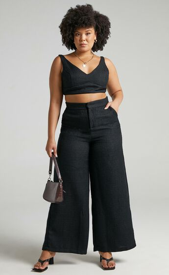 Adelaide Two Piece Wide Leg Set in Black