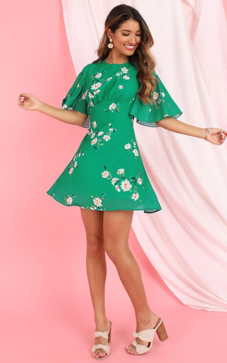 Cheers To Us Dress In Green Floral