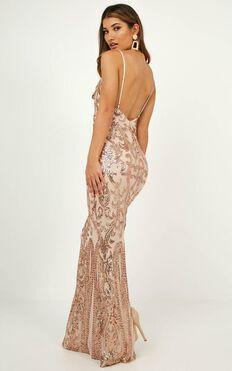 Capture Recapture Dress In Rose Gold Sequin