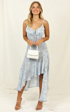 Never Forget Me Dress In Blue Floral Satin