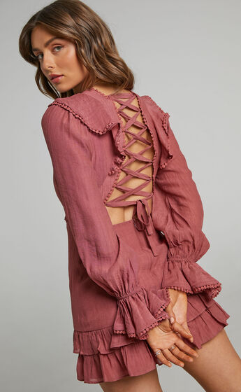Glamorous Long Sleeve Mini Dress with Trims in Dusty Rose
