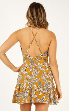 Got To Live Dress In Mustard Floral