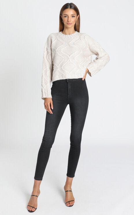 Tilda Diamond Pattern Jumper in Beige Marl
