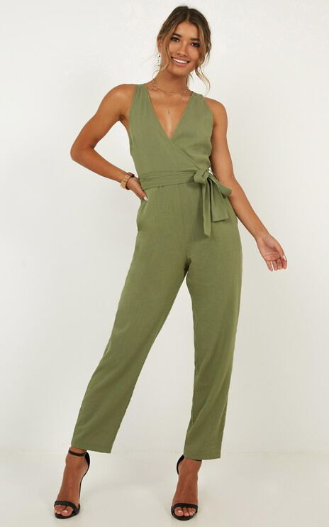 Leadership Jumpsuit In Khaki Linen Look