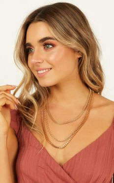 No More Feels Layered Necklace In Gold