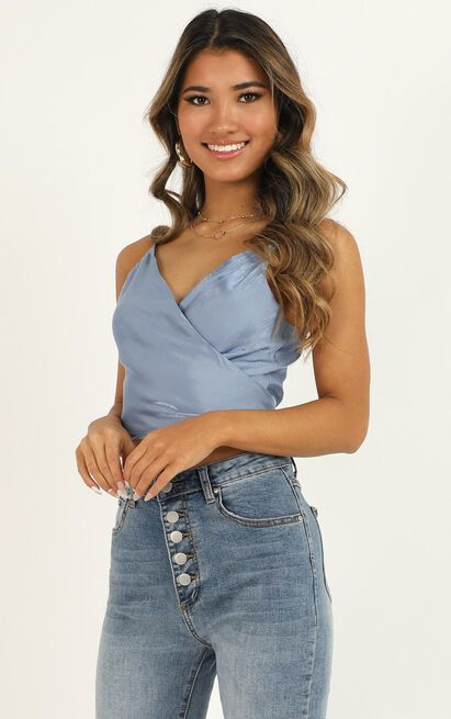 Set My Midnight Top in blue satin - 20 (XXXXL), Blue, hi-res image number null