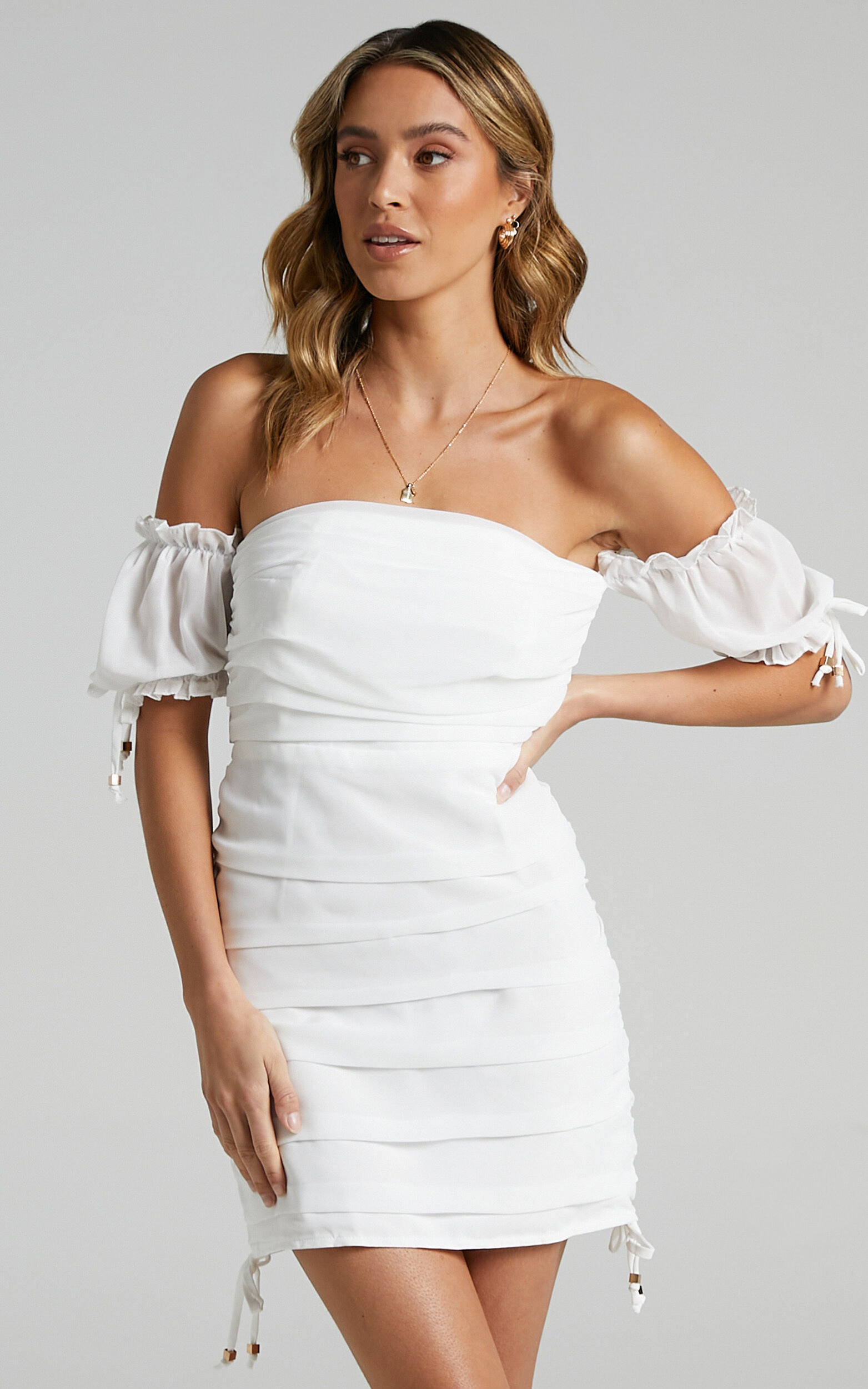Cant Get You Off My Mind Off The Shoulder Mini Dress in White - 04, WHT5, super-hi-res image number null
