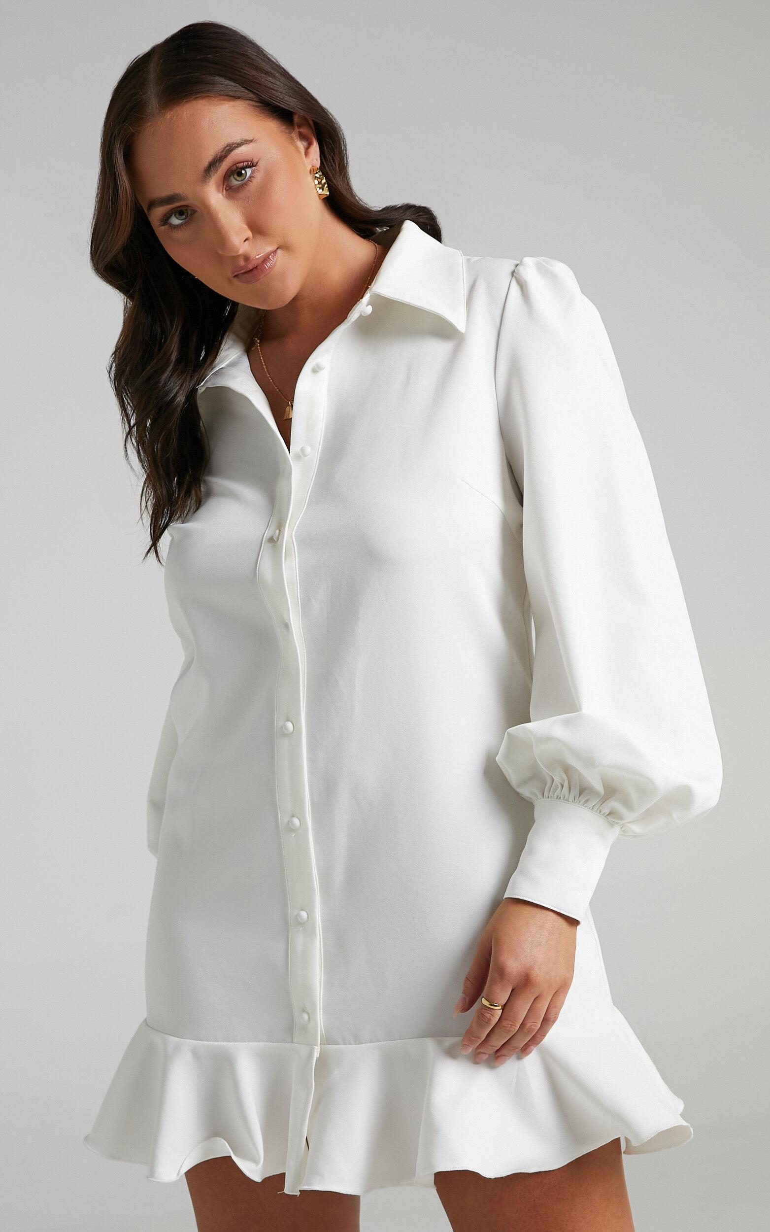 Mica Frill Hem Balloon Sleeve Shirt Mini Dress in White - 06, WHT2, super-hi-res image number null