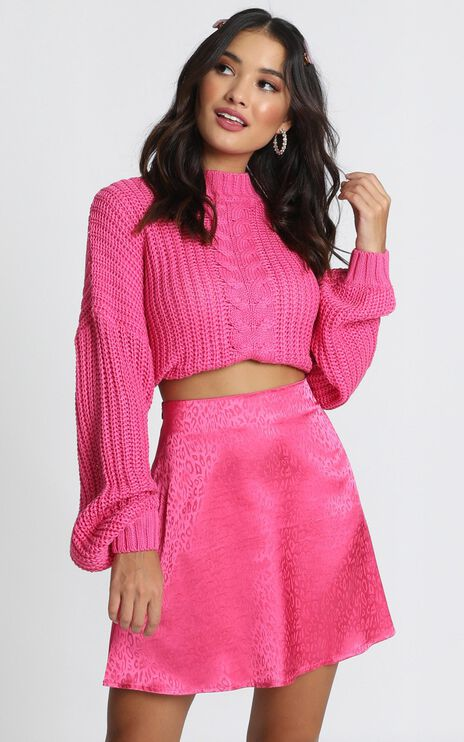 Party's Over Mini Skirt In Pink Leopard