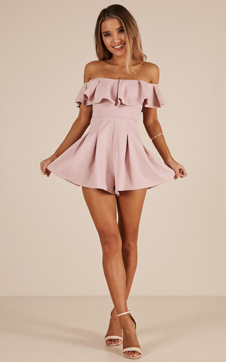 Contain My Love Playsuit In Blush