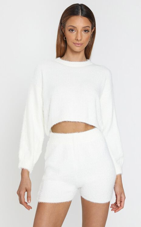 Loretta Fluffy Knit Two Piece Set in White