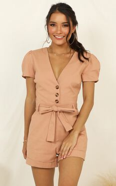 Caught In The Act Playsuit In Mocha Linen Look