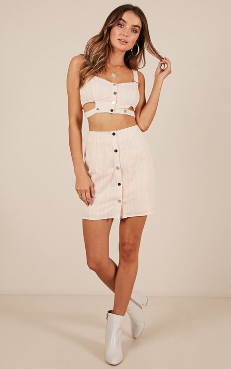Dont Wait Up Two Piece Set In Blush