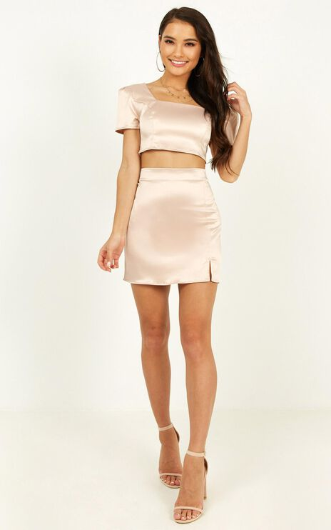 Rustic Romance Two Piece Set In Blush Satin