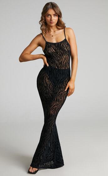 Theia Backless Mermaid Maxi Dress in Black Zebra