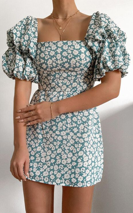 Parisian Spring Dress in Blue Floral