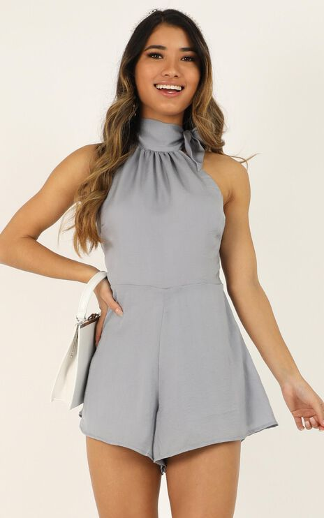 High Tide Playsuit In Dove Blue Satin