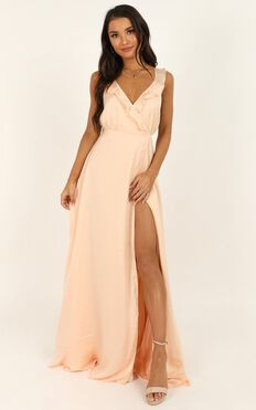 Losing My Edge Dress In Peach Satin