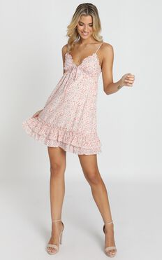 French Cafe Dress In Pink Floral