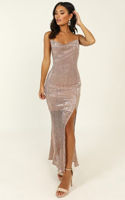 Stop And Stare Dress In Gold Sequin  - 16 (XXL), Gold, hi-res image number null