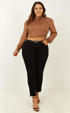 Tell Me The Truth Top in Brown Floral