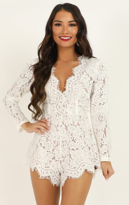 Felt Good Playsuit In white lace - 20 (XXXXL), White, hi-res image number null