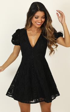 Hey Babe Dress in Black Lace