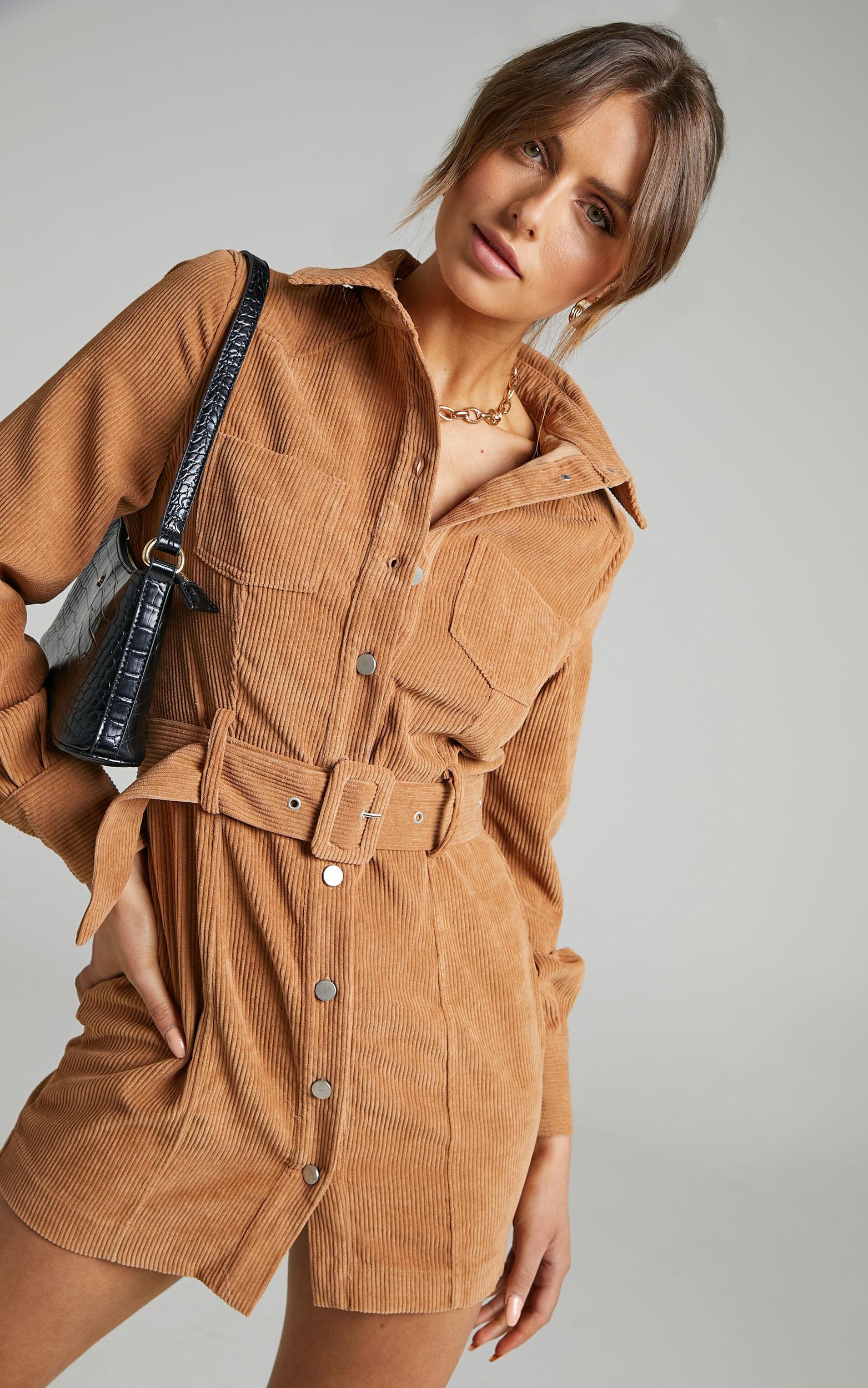 Lida Mini Long Sleeve Belted Corduroy Dress in Chocolate - 06, BRN2, super-hi-res image number null