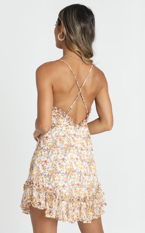 Lucky Eyes Mini Dress in Yellow Floral