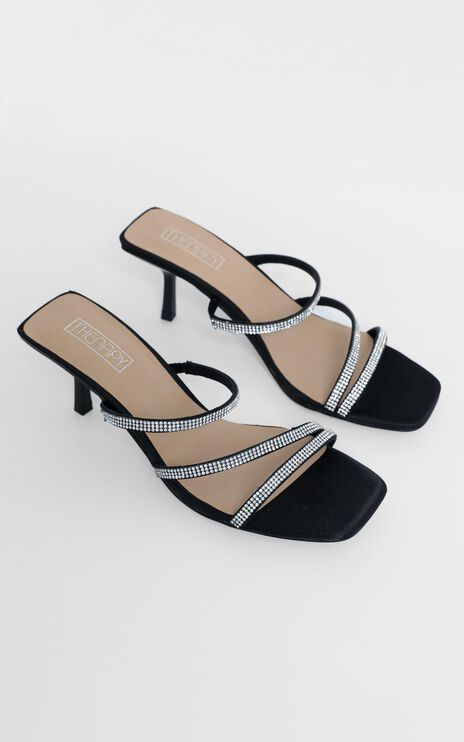 Therapy - Dazzle Heels in Black Satin