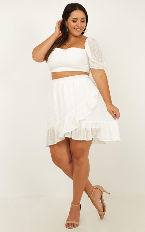 Forever Two Piece Set In White Dobby