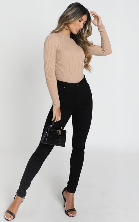 Downtown Dreams Knit Top in Light Mocha