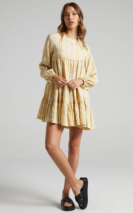Ellora Dress in Mustard Check
