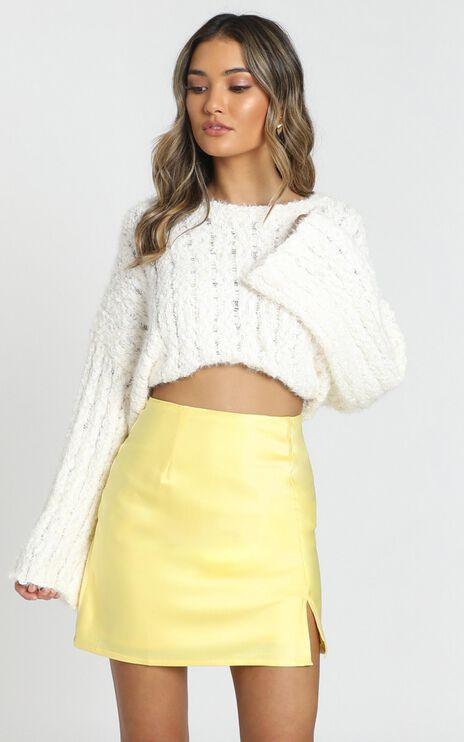 Mini Slip Skirt In Lemon Satin