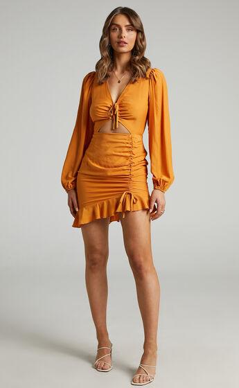 Beatrix Drawstring Detail Mini Dress in Orange