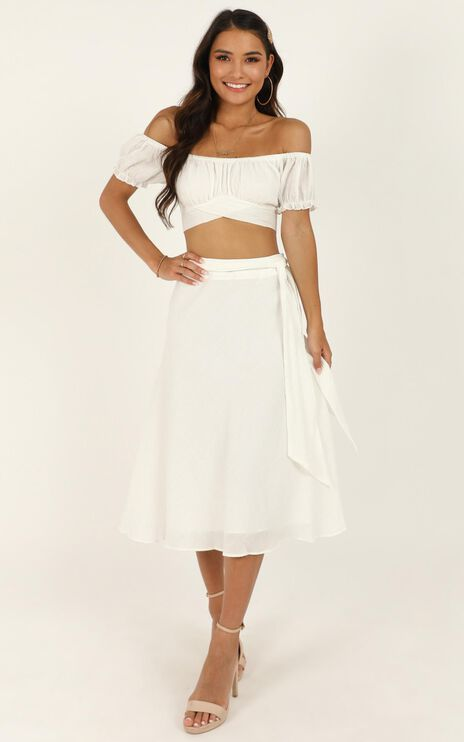 Ready Or Not Skirt In White Linen Look
