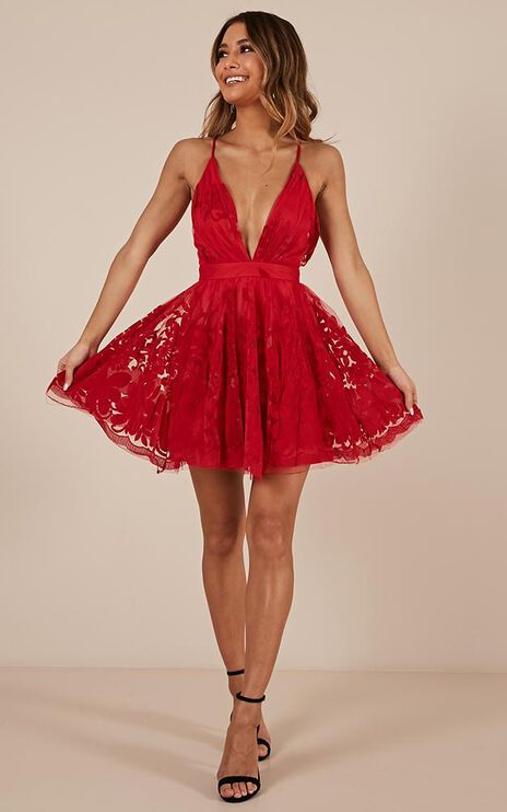 Moon Beam Dress In Red
