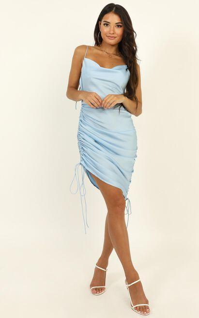 Lioness - String Along Dress In Blue Satin - 12 (L), Blue, hi-res image number null