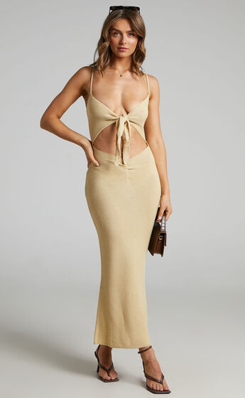 Danielle Bernstein - Knotted Maxi in Taupe