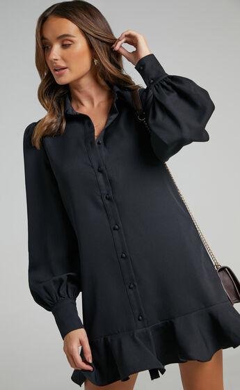 Mica Frill Hem Balloon Sleeve Shirt Mini Dress in Black