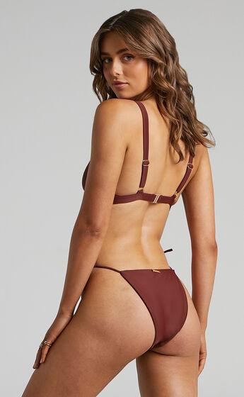 Aruba Thin Tie Side Bikini Bottoms in Chocolate