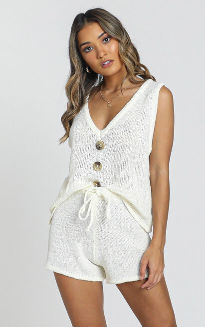 Katerina Knit Two Piece set in white - XS/S, White, hi-res image number null