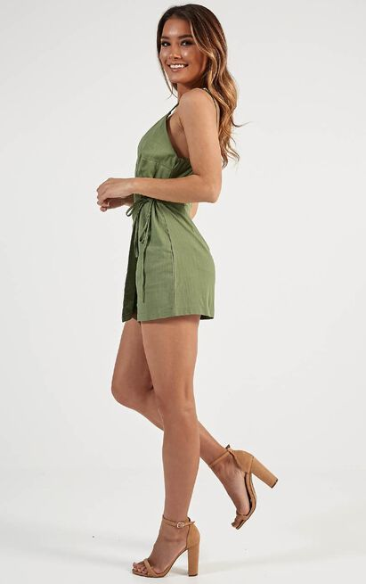 On And Off Playsuit in khaki linen look - 20 (XXXXL), Khaki, hi-res image number null