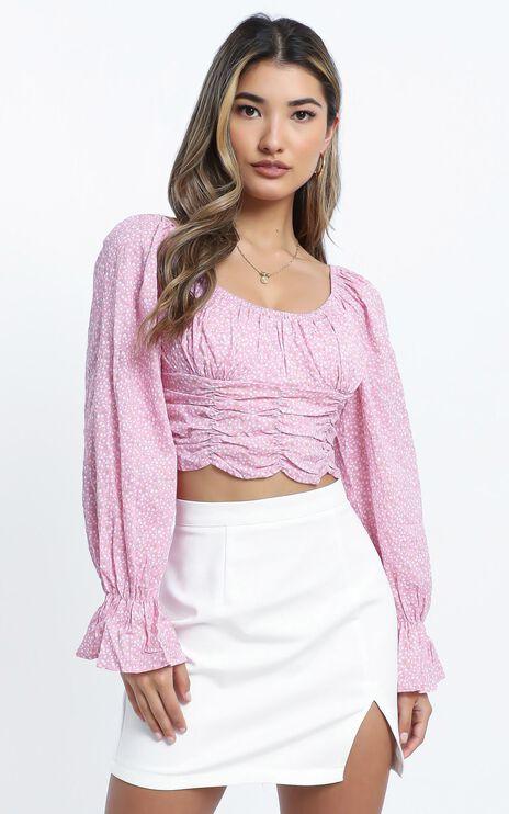 Zidan Top in Pink Floral