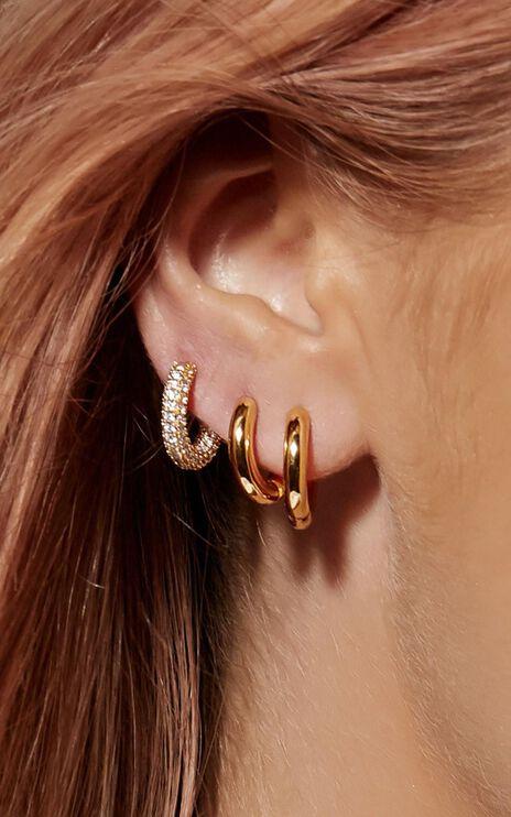 Luv Aj - Pave Amalfi Huggies in Gold