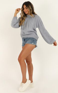Fade Into You Jumper In Dusty Blue