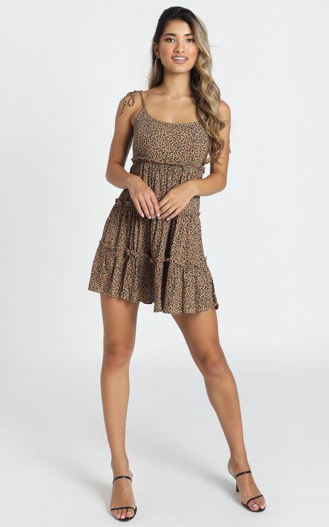 Helena Panelled Mini Dress In Leopard Print